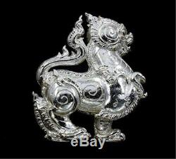 Powerful Sacred Singha Lion Real Silver LP Puan Wat Chang Noi Thai Buddha Amulet
