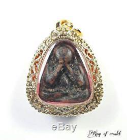 RARE! Old Phra Pidta LP Kaew Wat Khruawan Gold Micron Casing Thai Buddha Amulet