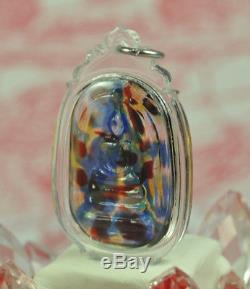 RARE RAINBOW Phra Somdej Somdet 7 color LEKLAI Kaew Crystal Thai Buddha AMULET
