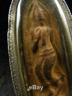 RARE! THAI BUDDHIST BUDDHA LANNA 100-150 Yr. ANTIQUE AMULET SILVER CASE