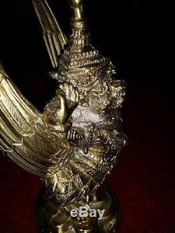 REAL Krut Bronze Protection THAI ART BUDDHA AMULET ANTIQUE STATUES STYLE