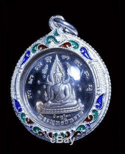 REAL! Phra Chinnaraj emperor wat Yai be. 2548, Thai Buddha Amulet Solid Silver
