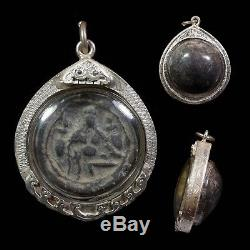 REAL! THAI BUDDHA Amulet Thao Kru Wen 700-800 YR. OLD/SILVER CASE