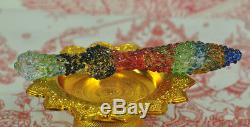 Rainbow Leklai Kaew Crystal dagger Knife sword King Khan Thai God Buddha Amulet