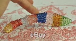 Rainbow Leklai Kaew Crystal dagger Knife sword halberd Thai Buddha Amulet RARE