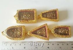 Rare 5 Phra Somdej Benjapakee Gold Button Wat Pra Kaew Thai Buddha Amulet
