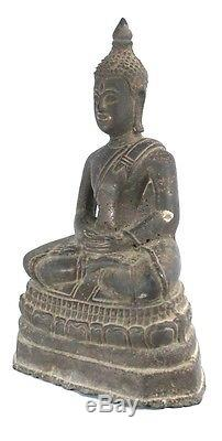 Rare Antique Ex Thai National Museum Seated Bronze Statue Buddha Image 9'h