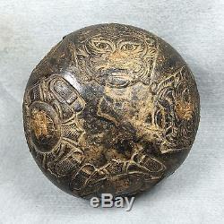Rare COCONUT SHELL Carve Phra Rahu Om Jun LP Noi Thai Amulet Buddha Talisman ###