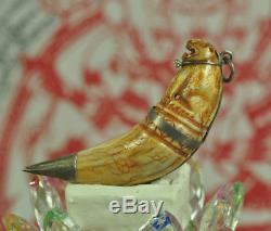 Rare Carved Tiger Takrut Talisman LP Nok Thai buddha Amulet mystic Tooth canines