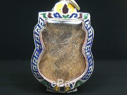 Rare Old Beautyful Rahu Craved Coconut Shell Thai Buddha Amulet Pendant #