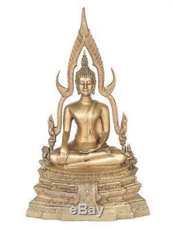 Rare Old Big Buddha Sakkayamuni End BE19 Brass/Bronze Thai Tibet Amulet Statue