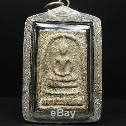 Rare Old Phra Somdej Toh Wat Rakhang Thai Buddha amulet, Real Silvecasing