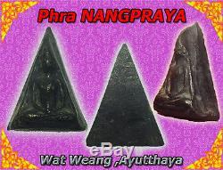 Rare! Phra Nangpraya Wat Weang, Old Tarisman, Thai Buddha Amulet, Ancient Free