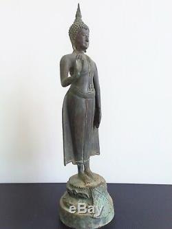Rare Thai Buddha (Pang Harm Samute) Stand Status Bronz