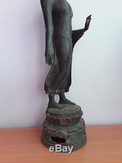 Rare Thai Buddha Stand (Phra pang leela) Statue Bronze