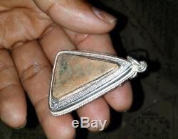 Rare! Thai Buddha amulet Phra Somdej Wat Nang Phaya 400 Yr. Silver 925 case