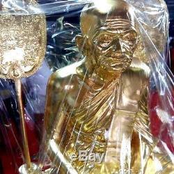 Real Gilt Brass LP NGERN Temple 9 Guru monk Jubilee Statue Thai Buddha Amulet
