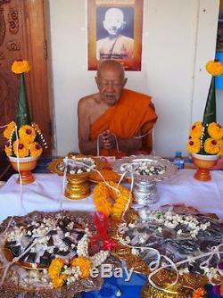 Real Leklai Khunpaen Gold Takrut LP Ong Thai Buddha amulet Luck Protect Talisman