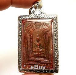 Red Phra Somdej Kampang Kaew Lp Jong Thai Powerful Magic Buddha Amulet Pendant