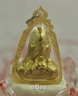 Ruesi Hermit Gold LEKLAI Thong pla lai Thai Buddha Amulet Somporn Protect Lucky