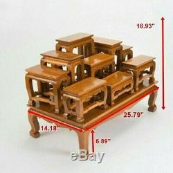 SET Of 10 Thai Teak Wood Gold Altar Tables Worship Buddha Buddhist Amulet