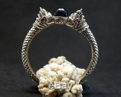 SUPER RARE 100% Real Blue Naga Eye Sterling Silver Bangle Thai Amulet Buddha