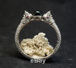 SUPER RARE 100% Real Green Naga Eye Sterling Silver Bangle Thai Amulet Buddha