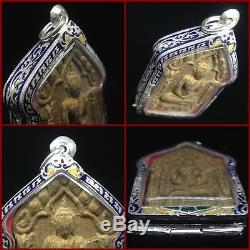 Set Phra Khun Paen Back LP Tim Thai Buddha Amulet Lucky Power Magic Silver Case
