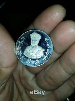 Silver 925 LP. Koon Wat Banrai Thai Buddha amulet Phra Chinnaraj Be. 2536 coin vtg