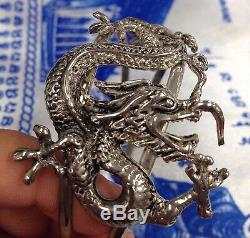 Silver Bracelet Dragon Lucky Bangle Buddha Shaman Thai Amulet Money Naga Magic