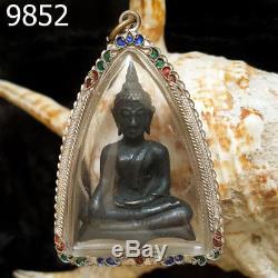 Silver Case Samrit Bronze Ancient Phra Chiang San Thai Buddha Amulet#9852g