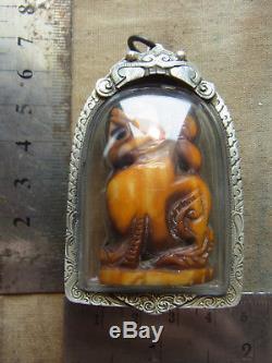 Singa Kae carving L P Derm, Wat Nong Poh, Nakon Sawan, Thai Buddha Amulet