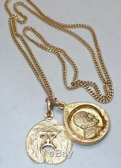 Solid 18K Gold Case Thai Buddha Amulet Monk and Monkey Face Necklace 14K Chain