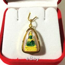 Somdej Wat Phra Kaew Emerald Pendant Buddha Talisman Thai Amulet Gold Green Case