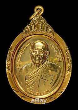 THAI AMULET BUDDHA LP SUPHAN WAT PRACHASONTI 84 YEARS 22.8g GOLD+7.7g GOLD CASE