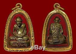 Thai Amulet Buddha Lp Tumh Wat Khaobot Bangsaphan Be 2516 With Gold Case Luck