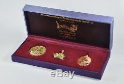 THAI AMULET BUDDHA SET OF 3COINS LP KOON WAT BANRAI CHAROENPORN19 No538 SILK BOX