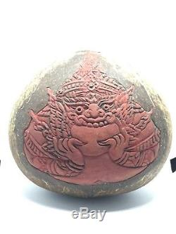 THAI AMULET Kala Rahu Kae One Eye coconut shell Thai Buddha good luck rare