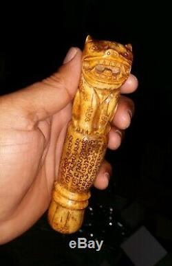 THAI BUDDHA AMULET TIGER Talisman charm, Bone Carve RARE Vintage Old