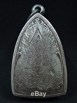 Thai Amulet Bronze Statue Figure Medicine Buddha LP Opasi BE2497 Silver Case