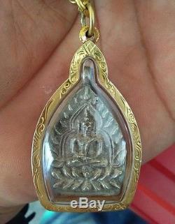 Thai Amulet Buddha 92.5 Silver Coin Phra Lp Boon Jaowsur & 22k Gold Case