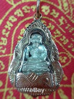 Thai Amulet Buddha LP Tuad Pendant Silver 925 And 24 K Gold Case Protection
