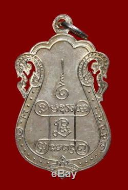 Thai Amulet Buddha Lp Eiam Wat Nang Be. 2554 Sema With Perforrated Silver