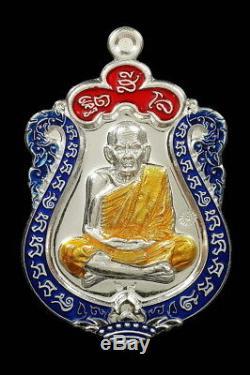 Thai Amulet Buddha Lp Moon Wat Banjan Mahapokasub Be2560 Silver Enamel No. 69