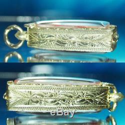 Thai Amulet Buddha Phra Suk/ Phra Serm/ Phra Sai Samrit BE2544 Real Silver case