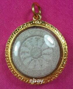 Thai Amulet Buddha Sacred Phra Dhamma Chakkawith 24K Gold Case Rich Lucky A20
