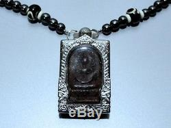 Thai Amulet Magic Lp Boon Buddha Black Necklace Rare Pendant Charm Lucky Brand