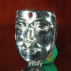 Thai Amulet Pendant Buddha Face Phra BuddhaPhak Real Silver Wat BangWeak