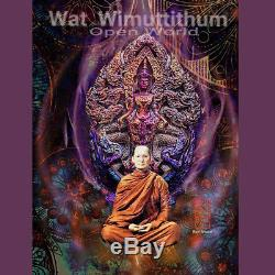 Thai Amulet Pendant Buddha Patihan PerdLok Open World Brass Wat Wimutidham 2560