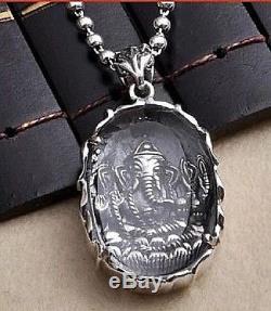 Thai Amulet Vintage Ganesh Buddha Pendant Handmade Silver 925 Wealth Good Luck